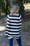 T7745-HCBRBSTBLK long sleeve hacci brushed big stripes tie hem top