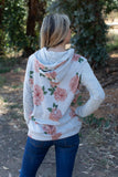 T8307-FLB1MVE long sleeve brushed floral FLB1 sweater knit hoodie