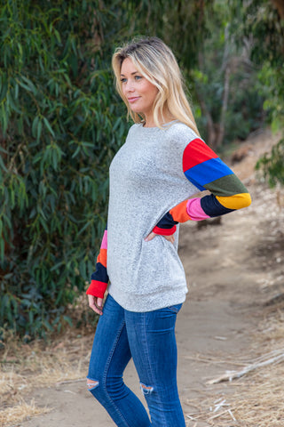 T8466-ST long sleeve colored stripes brushed sweater knit