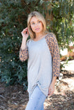 T8409-AN 3/4 animal sleeves twist front top