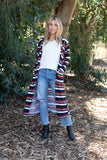 TU1742-STMUST long sleeve sweater knit stripe duster with pockets
