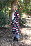 TU1742-STNVY long sleeve sweater knit stripe duster with pockets