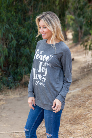 T3532-PJOYLV peace joy love long sleeve sweatshirt