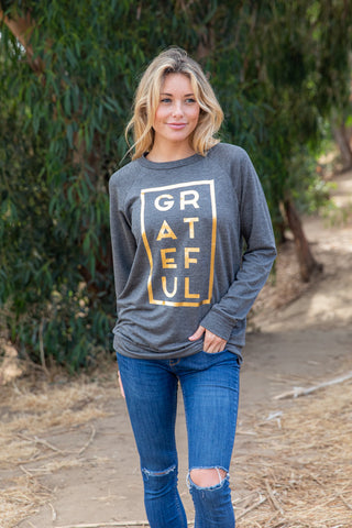 T3532X-GRTGD foil grateful box long sleeve sweatshirt plus size