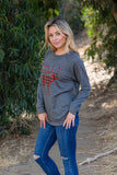 T3532-PLDR3 plaid deer 3 long sleeve sweatshirt