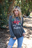 T3532X-MXTRK2 pickup truck #2 with Christmas tree long sleeve sweatshirt plus size