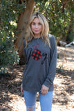 T3532X-PLJOY plaid joy long sleeve sweatshirt plus size