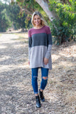 TU1651 long sleeve hacci brushed colorblock tunic