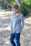 T8653-HCBRGRY long sleeve brushed sweater knit cowl neck