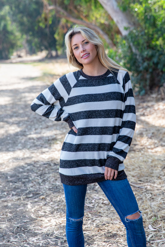 T8652-HCBRBTBLK long sleeve hacci brushed big stripes top