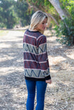 T8472-AZT long sleeve aztec sweater knit rib contrast