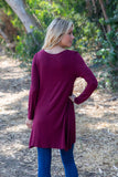 TU1606X-S long sleeve solid side pockets sharkbite tunic plus size