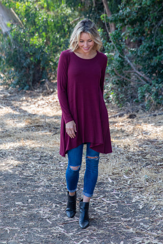 TU1606-S long sleeve solid side pockets sharkbite tunic