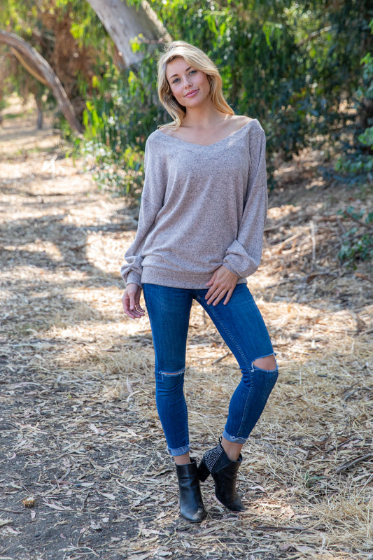 T8660-HCBR long sleeve brushed sweater knit V off shoulder top