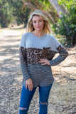 T8097-LEO animal stripe pocket colorblock long sleeve tunic