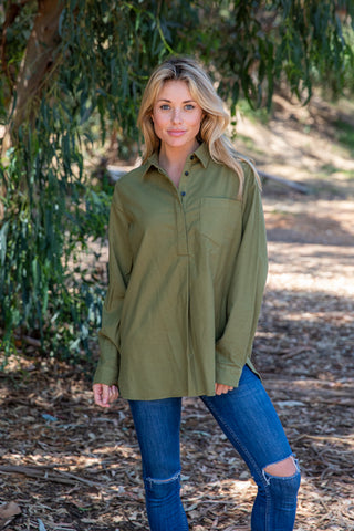 LST1016-OLIVE long sleeve solid flannel button open back shirt