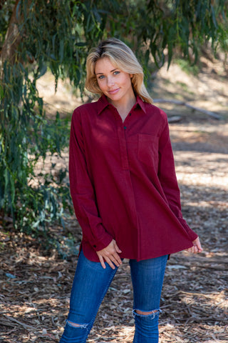 LST1016-BURG long sleeve solid flannel button open back shirt