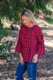 LST1020 plaid button back ruffle tiered top