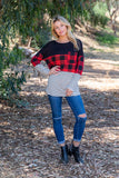 T8097X-PL plaid stripe pocket colorblock long sleeve tunic plus size