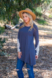 TU1509-STNAVY long sleeve stripes crochet cuffs sharkbite tunic
