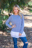 TU1470 long sleeve double ruffle lace sweatshirt