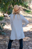 TU1420-SSTIVONVY long sleeve skinny stripes side pockets sharkbite tunic