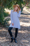 TU1420-STNAVY long sleeve stripes side pockets sharkbite tunic