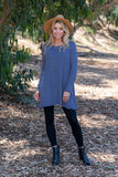 TU1420-STIVO long sleeve stripes side pockets sharkbite tunic