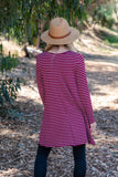 TU1420-STBURG long sleeve stripes side pockets sharkbite tunic