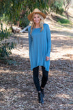 TU1606-ML long sleeve melange side pockets sharkbite tunic