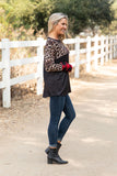T9287-ANPLBLK plaid and animal print color block hacci brush top