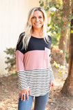 T8097-S solid stripe pocket colorblock long sleeve tunic