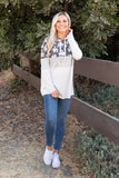 T8304-FL6R floral and stripes color block hoodie