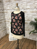 T7398 floral long sleeve sweatshirt