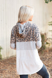 T8304-LEOMOCHA long sleeve brushed leopard and stripes color block hoodie