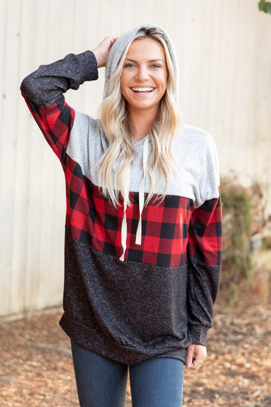 T9816-PL buffalo plaid color block sweater knit hoodie