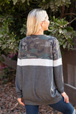 T8420-CAMOLVE camouflage color block sweatshirt