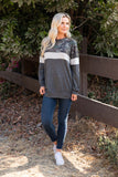 T8420X-CAMOLVE camouflage color block sweatshirt plus size