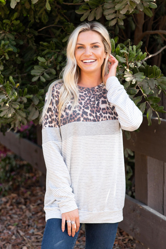 T8420X-STAN animal print and stripes color block sweatshirt plus size