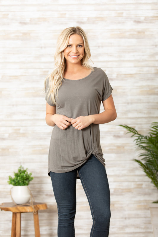 T7705-LN washed linen jersey ruched front tee