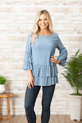 T7634 jersey gauze tiered tunic