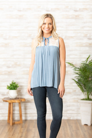 T7635 jersey gauze lace insert tie front tunic