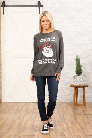 T3532-CTRYMAS country Christmas long sleeve sweatshirt