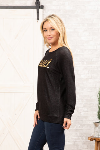 T3532-BLDFOIL blessed foil long sleeve sweatshirt