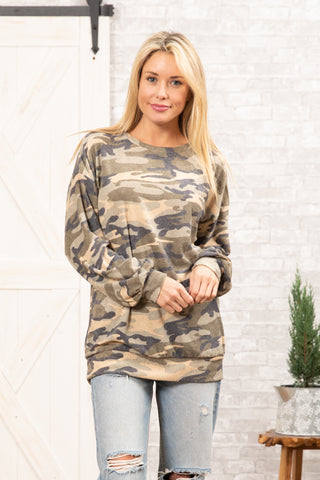 T8315-CAMOBR3 long sleeve brushed camo sweater knit