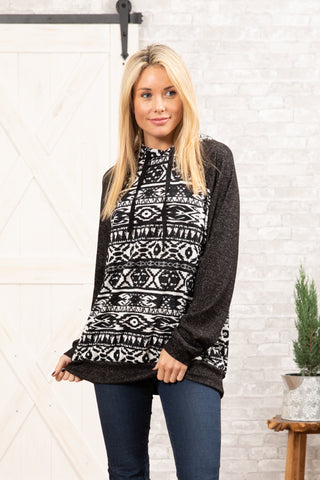 T7936-HCBRAZT3 long sleeve aztec sweater knit hoodie