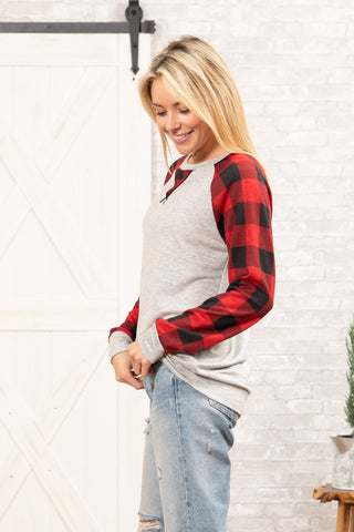 T8705-PL long sleeve terry plaid contrast sweatshirt