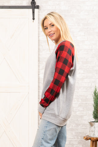T8394-TCBRPL long sleeve brushed terry plaid contrast banded bottom top