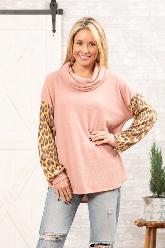 T8654-AN long sleeve brushed cowl neck animal contrast sweater knit