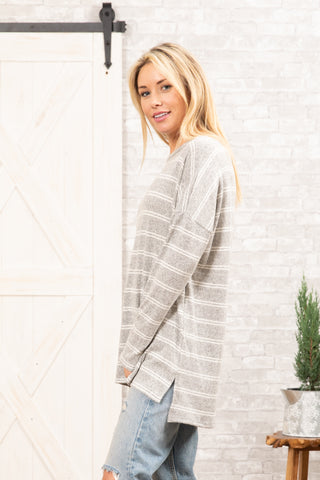 T8485-HCBRST long sleeve high low brushed stripes sweater knit tunic